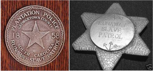 Actual slave patrols badges worn by patrolmen during the 18th and 19th centuries.