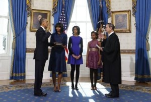 President Obama swears in a private ceremony held at the White House on January 20th. The public ceremony takes place today
